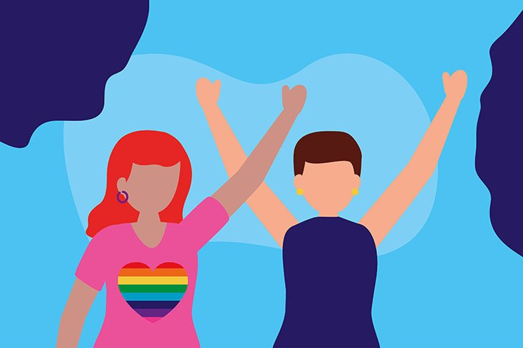 two women celebrating - queer community lgbtq vector illustration